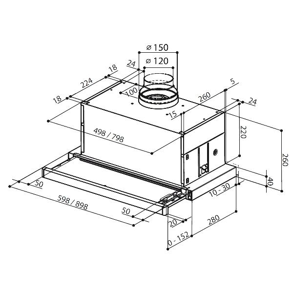 Obrázek galerie pro produkt Faber Maxima EV8 AM/X A60 + AKCE, Digestoř výsuvná 60cm