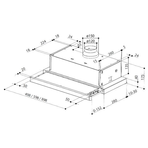 Obrázek galerie pro produkt Faber Flexa HIP W/X A90 Digestoř výsuvná 90cm, bílá/lišta nerez, 2xLED, 420m3/hod