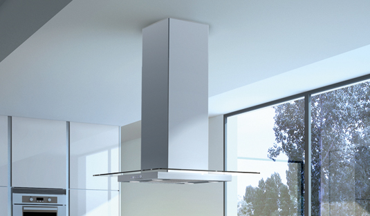 Obrázek galerie pro produkt Faber Glassy Isola SP EV8 X/V A90 + AKCE a Záruka 5 LET, Digestoř ostrůvková 90cm, nerez/čiré sklo