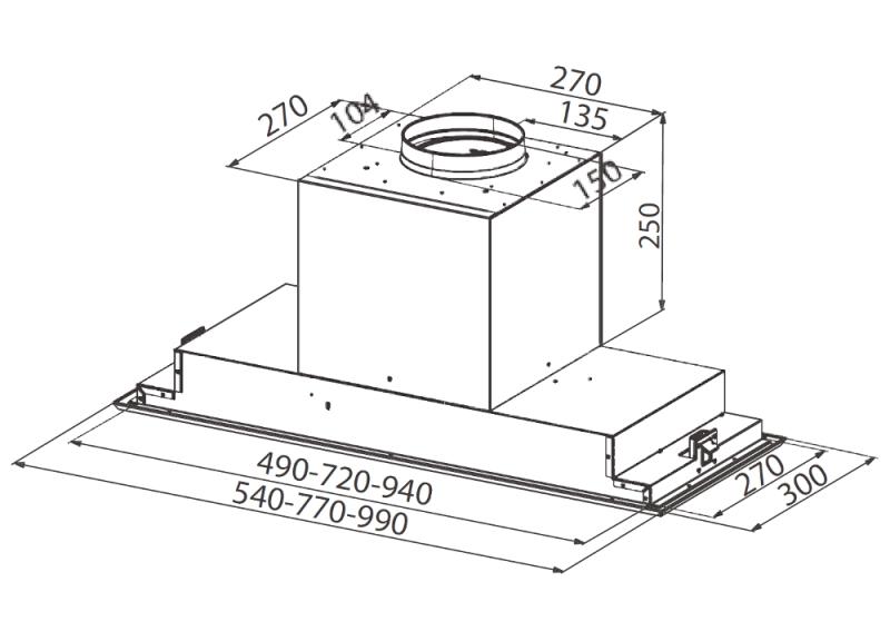 Obrázek galerie pro produkt Faber Victory 2.0 X A99 + AKCE Záruka 5 let, Digestoř vestavná do skříňky 99cm, nerez