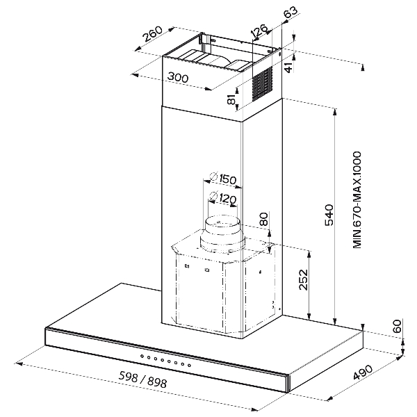 Obrázek galerie pro produkt Faber Stilux EV8 X/V A90 + AKCE, Digestoř komínová 90cm, nerez/lišta černé sklo
