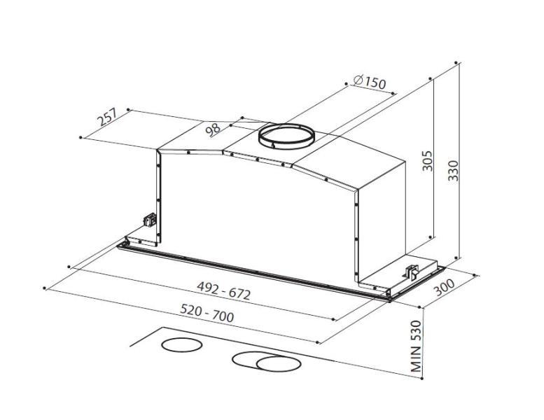 Obrázek galerie pro produkt Faber Inca Lux 2.0 EV8 X A52 + AKCE a Záruka 5 LET, Digestoř vestavná do skříňky 52cm, nerez