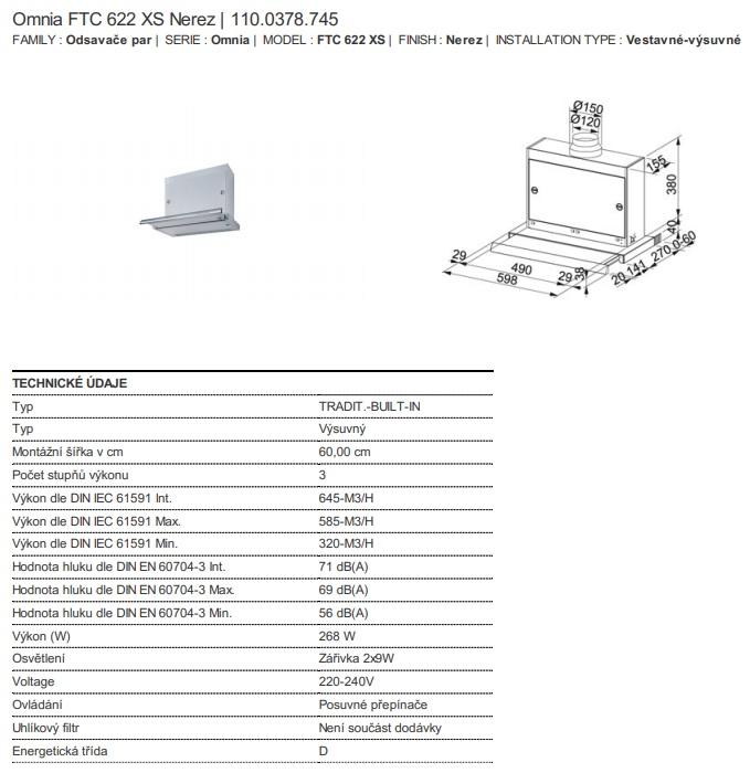 Obrázek galerie pro produkt Franke FTC 622 XS + DÁREK%, Výsuvná digestoř nerez 60cm