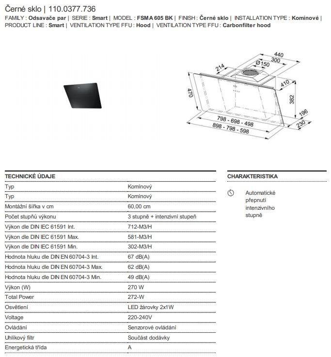 Obrázek galerie pro produkt Franke FSMA 605 BK + DÁREK, Komínová digestoř černá 60cm
