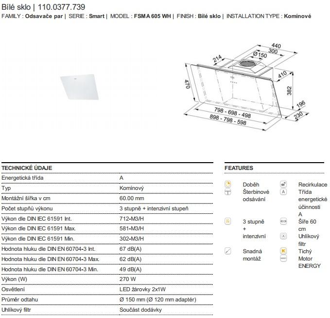 Obrázek galerie pro produkt Franke FSMA 605 WH + DÁREK%, Komínová digestoř šikmá 60cm, Bílé sklo