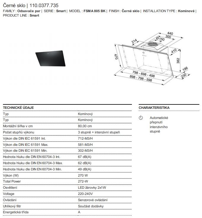 Obrázek galerie pro produkt Franke FSMA 805 BK + DÁREK%, Digestoř komínová černá 80cm