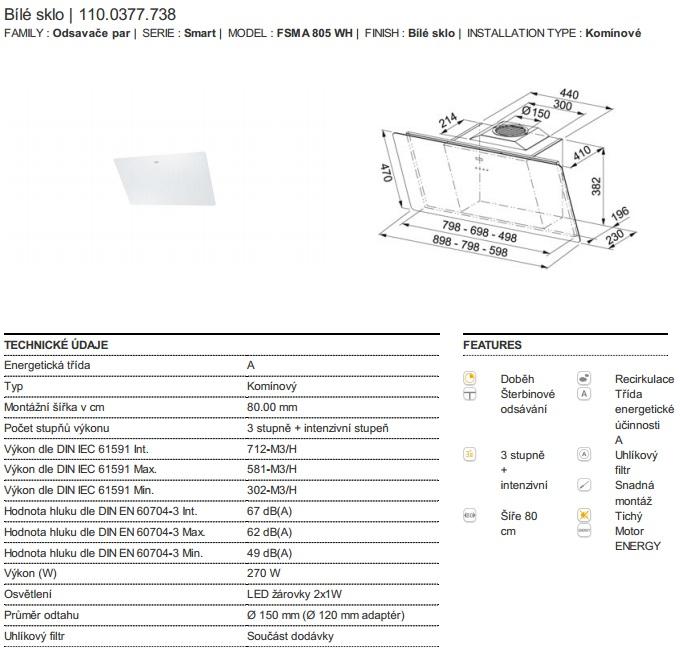 Obrázek galerie pro produkt Franke FSMA 805 WH + DÁREK%, Digestoř komínová šikmá 80cm, Bílé sklo