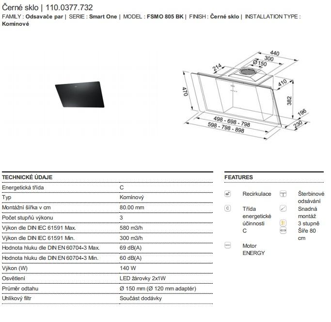 Obrázek galerie pro produkt Franke FSMO 805 BK + DÁREK%, Digestoř komínová 80cm, Černé sklo