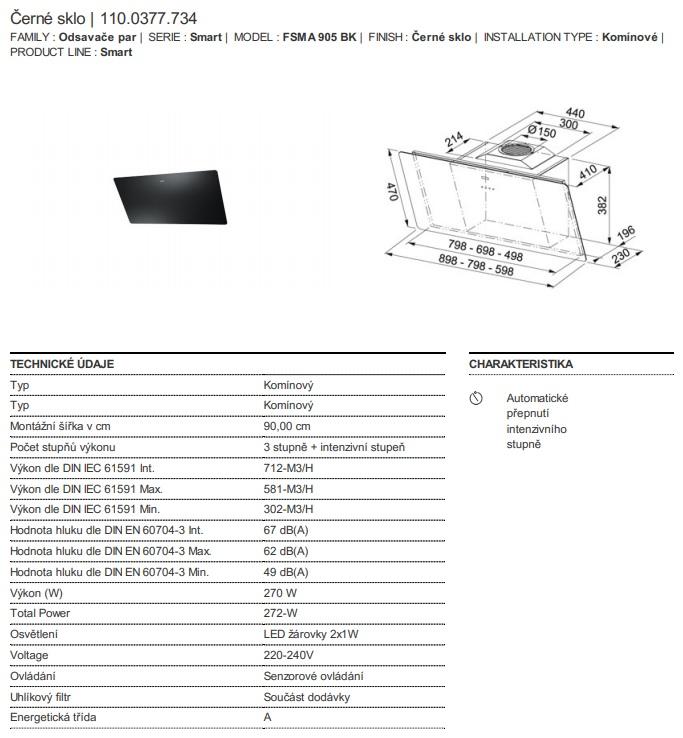 Obrázek galerie pro produkt Franke FSMA 905 BK + DÁREK, Digestoř komínová černá 90cm