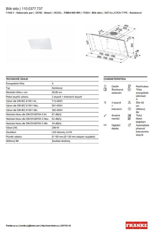 Obrázek galerie pro produkt Franke FSMA 905 WH + DÁREK%, Digestoř komínová šikmá Franke Smart  90cm, Bílé sklo