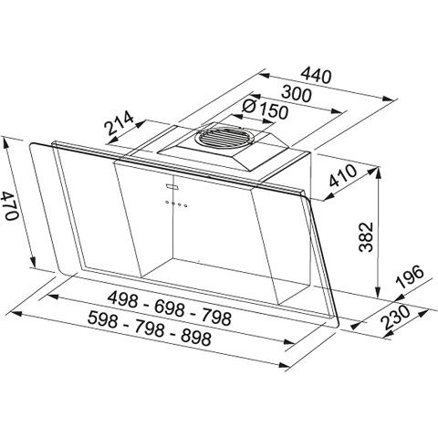 Obrázek galerie pro produkt Franke FSMO 905 BK + DÁREK%, Komínová digestoř 90cm, Černé sklo