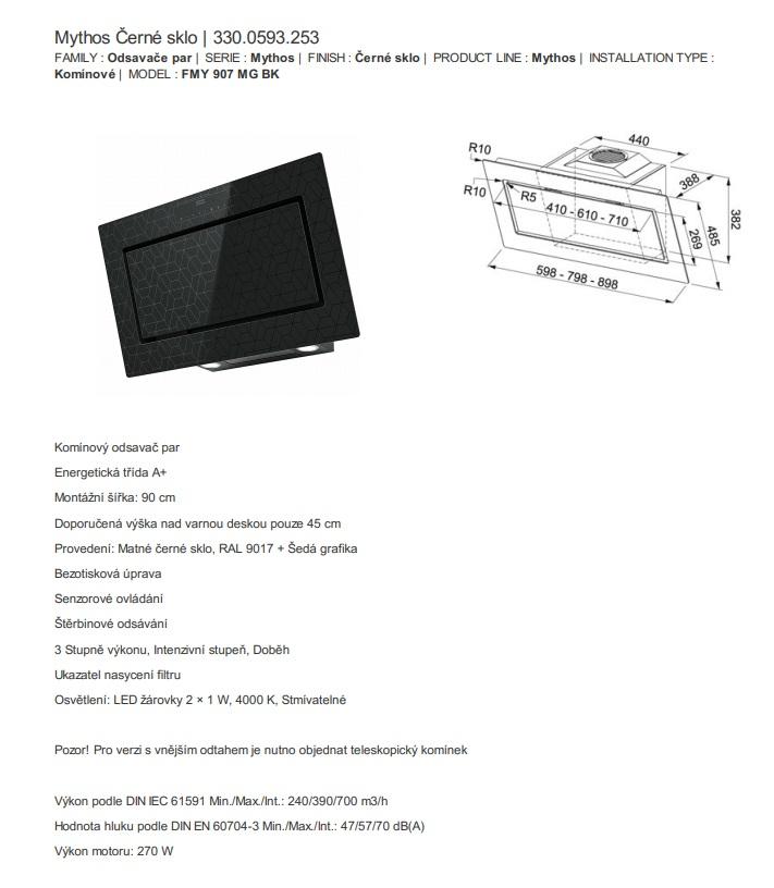 Obrázek galerie pro produkt Franke Mythos FMY 907 MG BK + DÁREK, Komínová digestoř šikmá 90cm, černé vzorované sklo