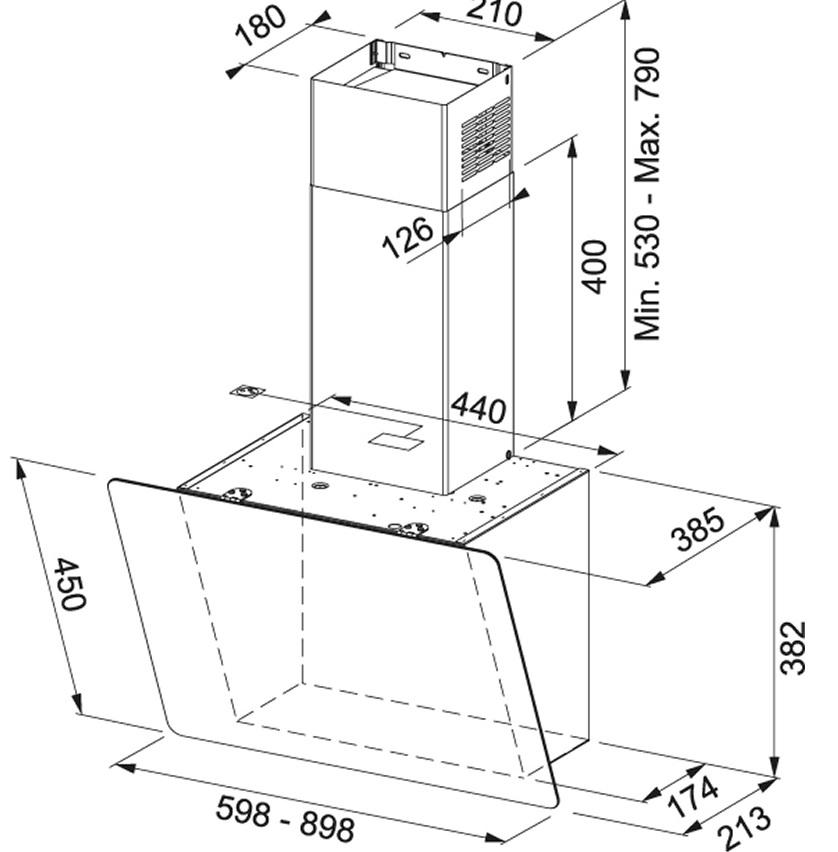 Obrázek galerie pro produkt Franke Smart Vertical 2.0 FPJ 615 V BK/DG A + DÁREK, Komínová digestoř šikmá 60cm, Černé sklo