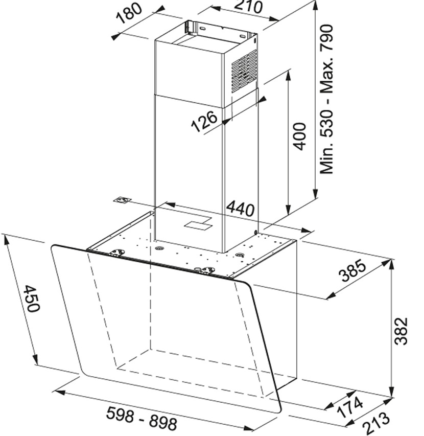 Obrázek galerie pro produkt Franke Smart Vert. 2.0 FPJ 915 V BK/DG A + DÁREK, Komínová digestoř 90cm, Černé sklo