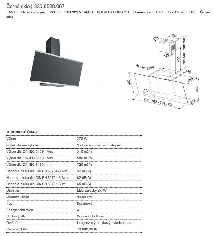 Obrázek galerie pro produkt Franke Evo Plus FPJ 925 V BK/SS + DÁREK%, Komínová digestoř šikmá Černé sklo