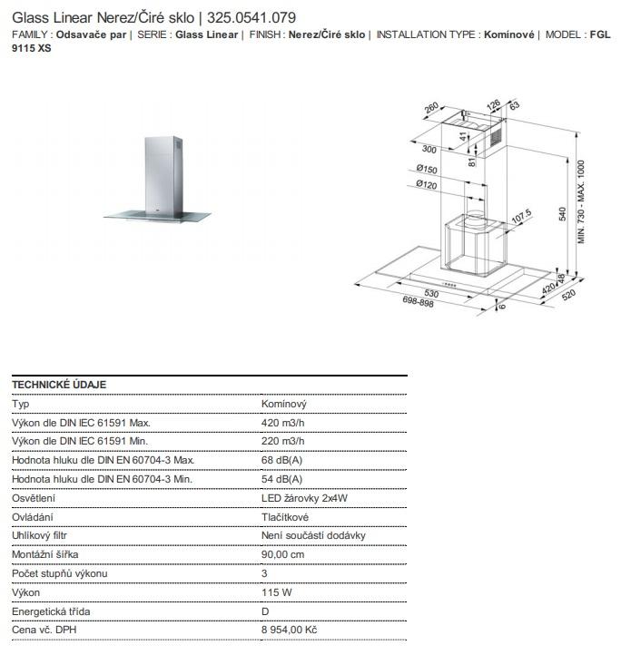 Obrázek galerie pro produkt Franke Glass Linear FGL 9115 XS + DÁREK, Komínová digestoř 90cm, Nerez/čiré sklo