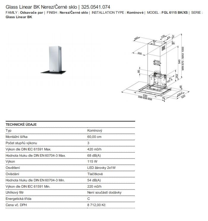 Obrázek galerie pro produkt Franke Glass Linear FGL 6115 BK/XS + DÁREK,, Komínová digestoř 60cm, Nerez/černé sklo