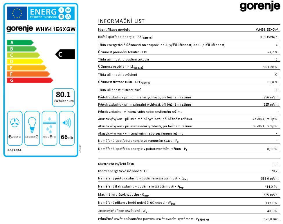 Obrázek galerie pro produkt Gorenje WHI641E6XGW Essential Komínový odsavač par, nerez ocel/bílé sklo, P.A.S. Systém