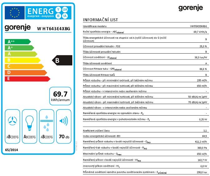 Obrázek galerie pro produkt Gorenje WHT643E4XBG Essential Digestoř komínová 60cm, nerez/černé sklo, výkon 650m3/hod