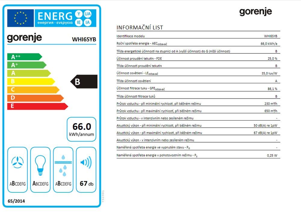 Obrázek galerie pro produkt Gorenje WHI6SYB Symplicity Komínová digestoř šikmá černá 60cm, AdaptLight, 650m3/h