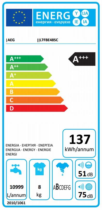 Obrázek galerie pro produkt AEG ProSteam L7FBE48SC Parní pračka s předním plněním A+++-30%, 8kg, 1400ot/min