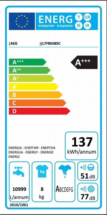Obrázek galerie pro produkt AEG ProSteam L7FBE68SC Parní pračka s předním plněním A+++-30 %, kapacita 8kg