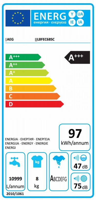 Obrázek galerie pro produkt AEG ÖKOMix L8FEC68SC Parní pračka s kapacitou 8kg,  A+++-50%, 1600ot/min