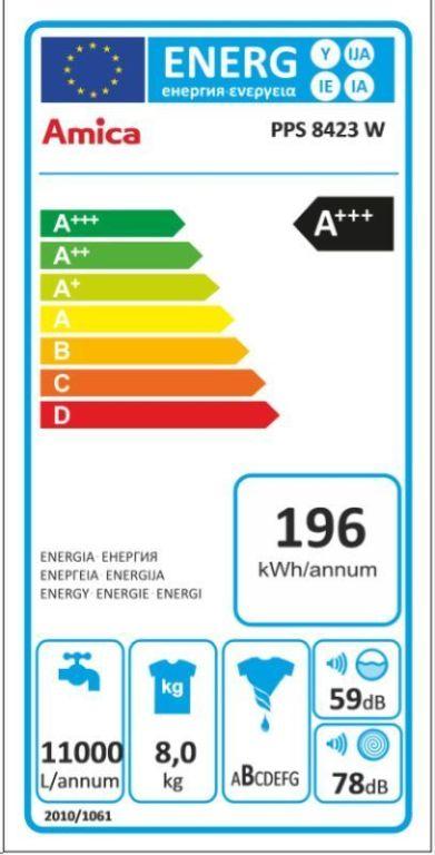 Obrázek galerie pro produkt Amica PPS 8423 W + AKCE, Pračka předem plněná úzká A+++, 8kg, 1400ot/min, hl.47cm