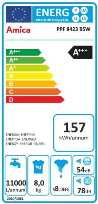 Obrázek galerie pro produkt Amica PPF 8423 BSW + AKCE%, Pračka předem plněná A+++, 8kg, 1400ot/min, SteamTouch - parní praní