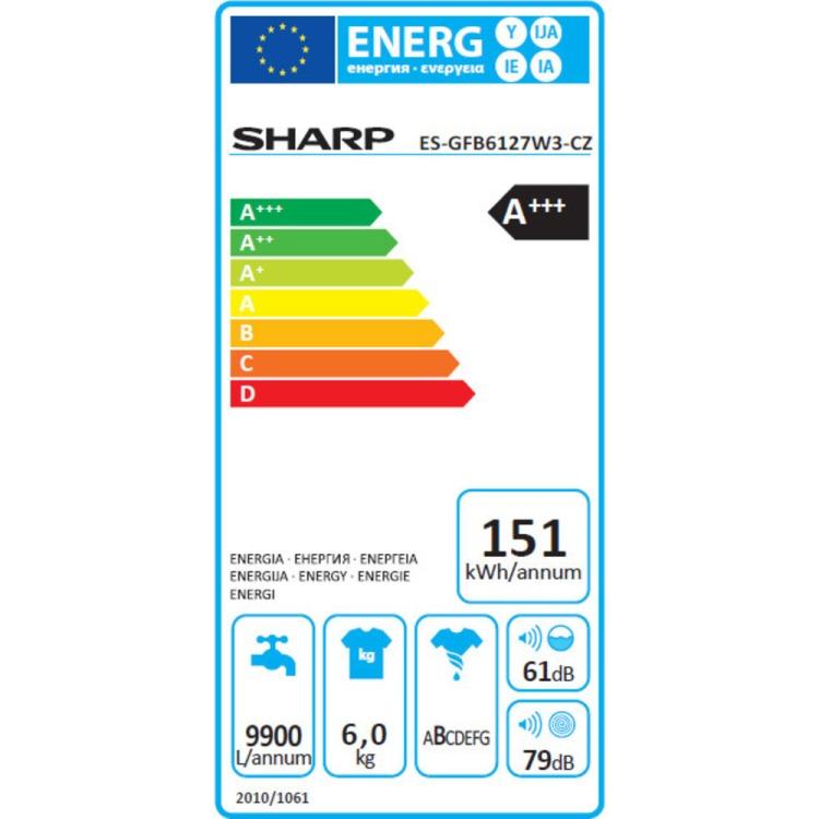 Obrázek galerie pro produkt  SHARP ES GFB6127W3-CZ Pračka s předním plněním, A+++,6kg,1200/min. - AKCE