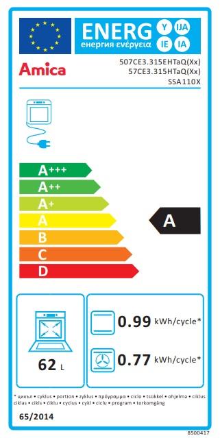 Obrázek galerie pro produkt Amica SSA 110 X + AKCE, Sklokeramický sporák nerez 50cm, gril a horkovzduch