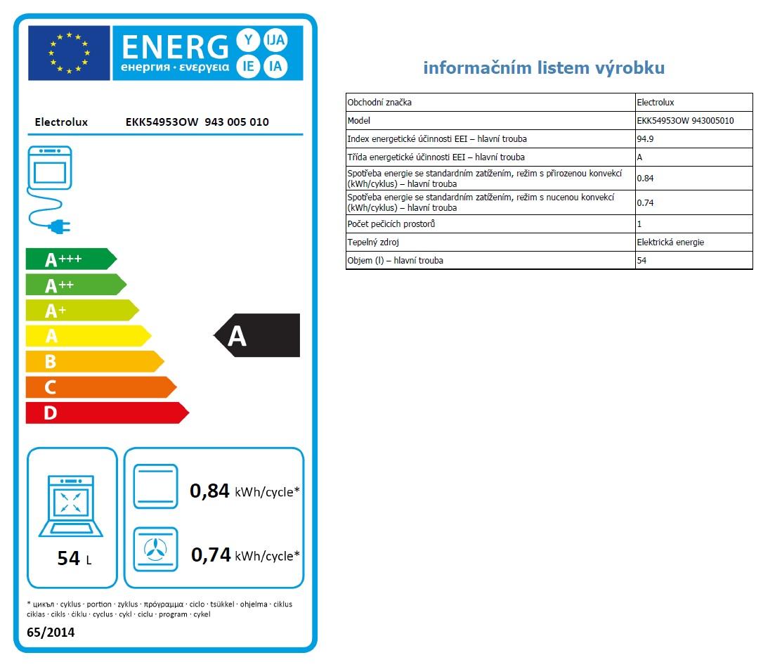 Obrázek galerie pro produkt Electrolux EKK54953OW PlusSteam Kombinovaný sporák bílý 50cm s parní funkcí