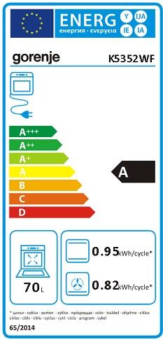 Obrázek galerie pro produkt Gorenje K5352WF Kombinovaný sporák bílý 50cm, AquaClean, Víceúrovňové pečení