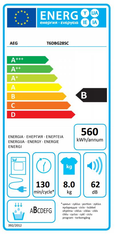 Obrázek galerie pro produkt AEG ProSense T6DBG28SC Sušička prádla kondenzační s kapacitou 8kg