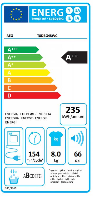 Obrázek galerie pro produkt AEG AbsoluteCare T8DBG48WC Sušička prádla s tepelným čerpadlem, kapacita 8kg