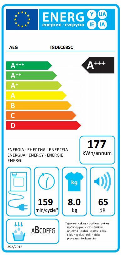 Obrázek galerie pro produkt AEG AbsoluteCare T8DEC68SC Sušička prádla s tepelným čerpadlem, A+++, kapacita 8kg