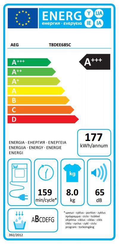 Obrázek galerie pro produkt AEG T8DEE68SC AbsoluteCare Sušička prádla s tepelným čerpadlem a kapacitou 8kg