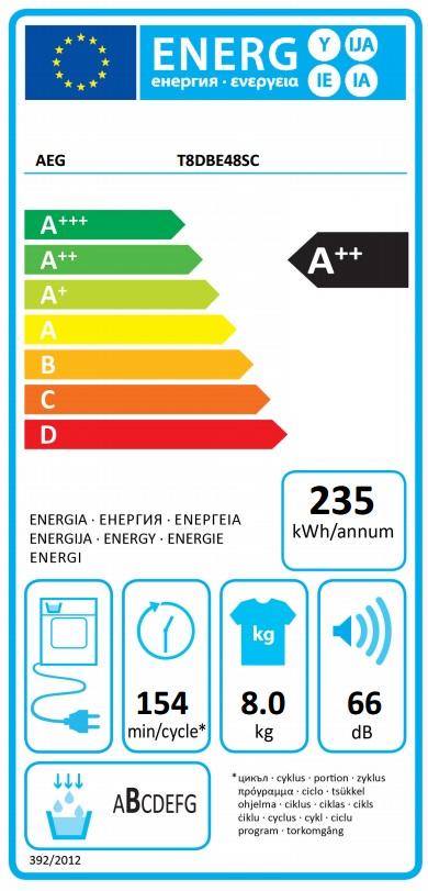 Obrázek galerie pro produkt AEG AbsoluteCare T8DBE48SC Sušička prádla s tepelným čerpadlem, A++, kapacita 8kg