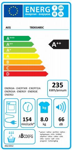 Obrázek galerie pro produkt AEG AbsoluteCare T8DEG48SC Sušička prádla s tepelným čerpadlem, A++, kapacita 8kg