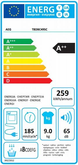 Obrázek galerie pro produkt AEG AbsoluteCare T8DBC49SC Sušička prádla s tepelným čerpadlem, kapacita 8kg