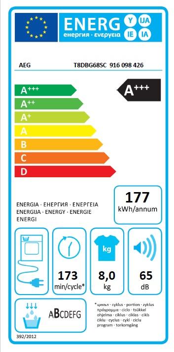 Obrázek galerie pro produkt AEG T8DBG68SC AbsoluteCare Sušička prádla s tepelným čerpadlem, kapacita 8kg