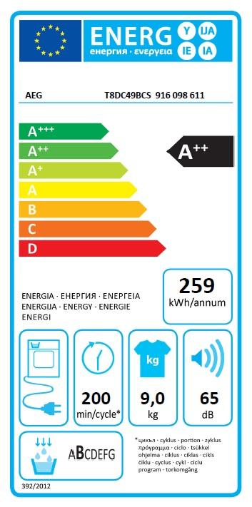 Obrázek galerie pro produkt AEG T8DC49BCS AbsoluteCare, Sušička prádla s tepelným čerpadlem, parní funkce, kapacita 9kg