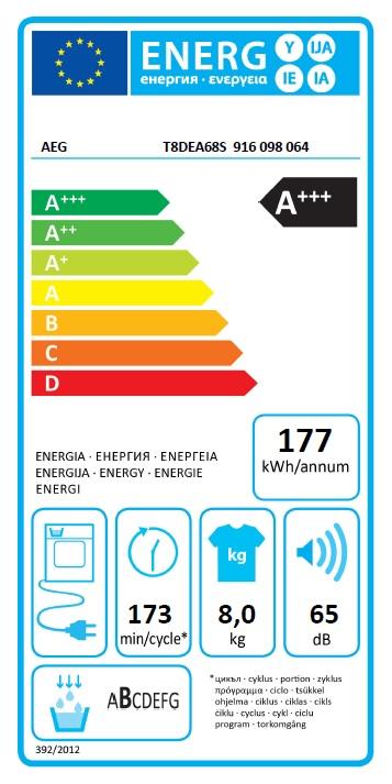 Obrázek galerie pro produkt AEG T8DEA68S AbsoluteCare Sušička prádla s pepelným čerpadlem, kapacita 8kg
