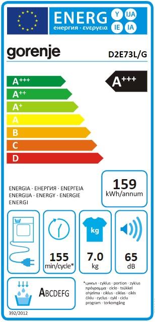 Obrázek galerie pro produkt Gorenje D2E73L/G Essential Sušička prádla s tepelným čerpadlem, kapacita 7kg, Anticrease