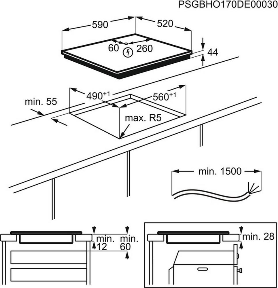 Obrázek galerie pro produkt Electrolux EIS6448 800 SENSE SenseFry Indukční varná deska, tmavě šedá, Windmill / Bridge