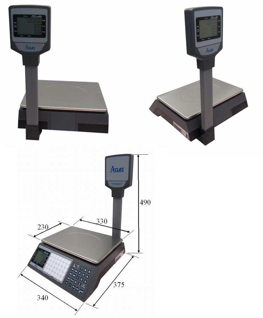 Obrázek galerie pro produkt ACLAS PS1P-15DS 6/15kg + DÁREK, Obchodní váha s displejem na stativu (včetně ES ověření)