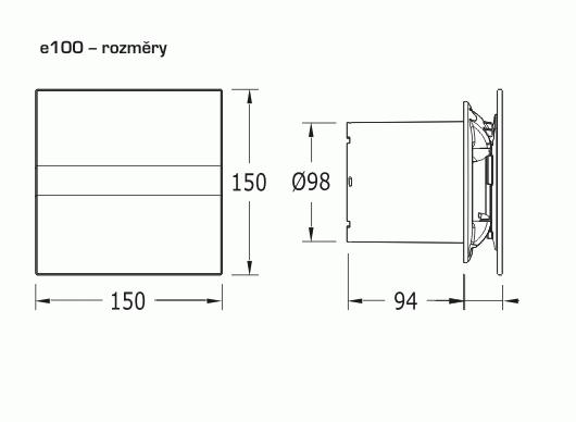 Obrázek galerie pro produkt CATA e100 GTH Ventilátor nástěnný 100mm, LED display, vlhkostní automatika