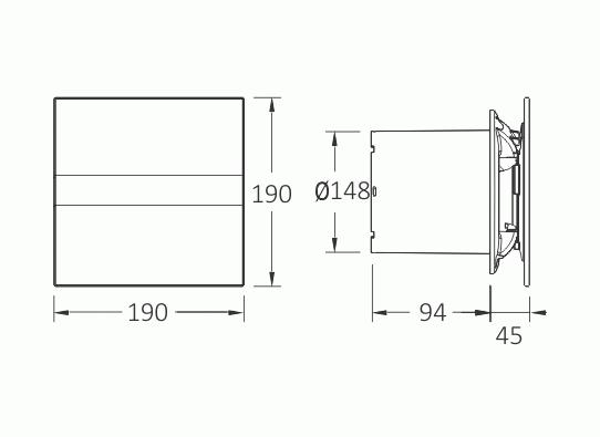 Obrázek galerie pro produkt CATA e150 GT Ventilátor nástěnný 150mm, skleněný panel, 350m3/hod