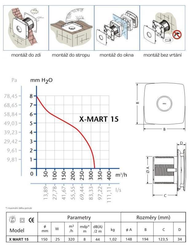 Obrázek galerie pro produkt CATA X-MART 15 H INOX Ventilátor nástěnný nerez 150mm, 320m3/hod