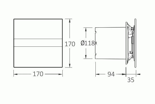 Obrázek galerie pro produkt CATA e120 GTH Ventilátor nástěnný 120mm, LED display, mikroventilace